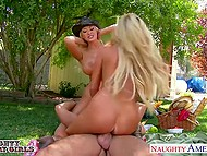 Couple of hot young cowgirls having fun with boyfriends on picnic under blue sky 5