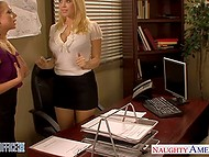 Employee found a compromise with big-boobied boss Kagney Linn Karter and colleague Shawna Lenee 3