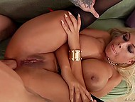 Blonde gets fucked hard in her pussy and ass with the ending on her face 9