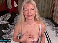 Blonde-haired old lady is sixty-four-year-old but still likes to play with herself 7