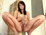 Ribbed dildo dived deep inside smooth pussy of young girl and she pissed of pleasure 11