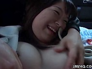 Japanese wore nothing but coat and men took up touching her boobs and bush in rear seats 5
