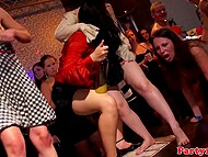 Crowd of sexy chicks and handsome mates arranged sex party in the night club 8