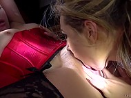 Silent males are shining flashlights at the goodies of two lesbian MILFs in crazy XXX scene 9