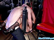 Attractive courtesan satisfies her client in medieval torture chamber and squirts 8