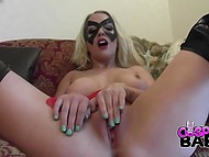 Stunning blonde-haired hottie smokes and masturbates her shaved snatch 7