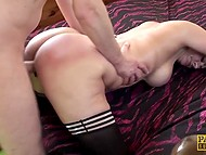 Buxom MILF with great butt cheeks and in black stockings rides enduring penis 3
