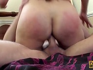 Buxom MILF with great butt cheeks and in black stockings rides enduring penis 5