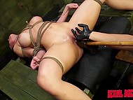 Strict Latin boy was fucking bounded prisoner very hard and rubbing slit with different toys at the same time 9