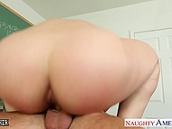 Bright-haired dame was not even teacher assistant but could help hot student to solve his problem 9