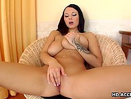 Brunette with massive bangers kneaded gently trimmed pussy with vibrating toy 6