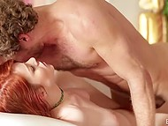 It was a matter of minute for handsome bloke to reach red-headed beauty's unshaved pussy 11