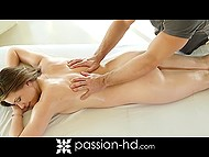 Client with curvy shapes knows this masseur for a long time and lets him take care of smooth pussy 6