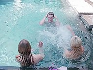 Handsome boy meets fragile babes are teasing little pussies under water and presents them fat boner 5