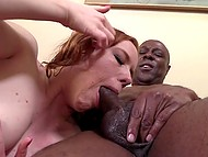 Red-headed woman couldn't stop two tall black guys from polishing her anal hole 10