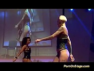 Two lesbians perform a dance of passion on the stage with orgasms in the final 4
