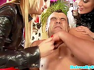 Imperious women meet in luxurious mansion and played dirty with obedient house manager 11