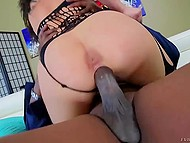 Fathomless vagina of vicious girl easily deals with black-skinned fucker's giant cock 7
