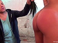 Speechless man spanked dark captive with flogger and warmed up pussyhole with diverse sex devices 5