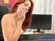 Ravishing ginger sucked gallant's dick and licked off all cum from the keyboard 11