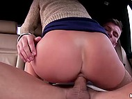 Light-haired tootsie gave driver's a blowjob and copulated in the front and rear seats 10