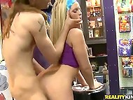 Skinny customer with long hair obtained a huge discount after hooked up toy seller 4