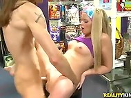Skinny customer with long hair obtained a huge discount after hooked up toy seller