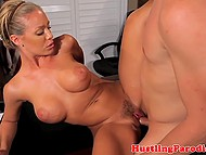 Playful blonde with big breasts having mad sex with curly boss on his office table 9