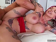 Tattooed hottie's boobs wildly shaking, when swain bangs her shaved peach 10