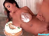 Temptress with huge breasts decides that the best time for presenting cake is during anal sex with birthday boy 6