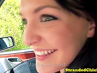 Dark-haired Czech didn't know how to return the favor but naughty driver had a couple of ideas 5