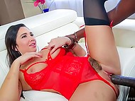 Teenage Karlee Grey in red lingerie and sexy stockings got soundly blacked 5