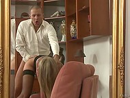 Tattooed enchantress in fashioned stockings gets ass penetrated by handosome dude 8