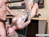 Tattooed bitch Kleio Valentien gave buddy free access to trimmed vagina to relax him 11