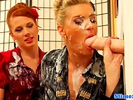Two glamour women handle long dildo from gloryhole that has infinite stock of white liquid
