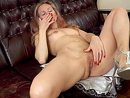 Sensitive skinny chick masturbates her pussy and gets an enormous orgasm 4