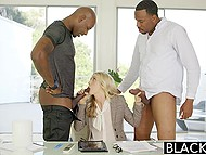 Threesome sex with fetching Karla Kush persuaded two black guys to sign a contract 4