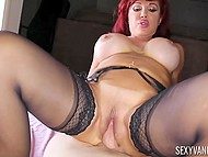 Mature redhead Sexy Vanessa with giant boobs presented twat to guy with camera for fuck 5