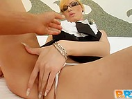 Whore from Budapest dressed up as secretary for scene where she got nailed and fed with sperm 4