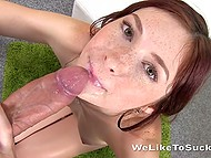 Well-done blowjob performed by freckled redhead finished with cumshot in her pleased mouth 10
