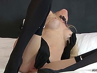 Slender masturbatrix Angel Summers in gloves to the elbow teases rosy pussy on camera 8