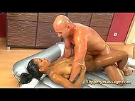 Dark-skinned masseuse wasn't competent enough and seduced bald client on inflatable mattress 11