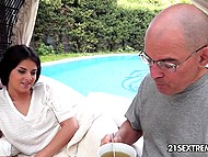 Vicious stepfather meets his seductive stepdaughter reading outdoors and owns her pussy 4