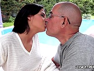 Vicious stepfather meets his seductive stepdaughter reading outdoors and owns her pussy 5