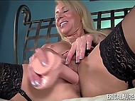 Experienced porn actress Erica Lauren puts on lace lingerie and has fun with toy 5