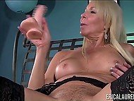 Experienced porn actress Erica Lauren puts on lace lingerie and has fun with toy 6