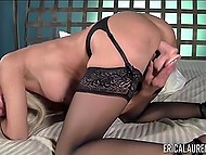 Experienced porn actress Erica Lauren puts on lace lingerie and has fun with toy 9