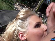 Chesty bitch can remember some Spanish words getting fucked by Latin guy outdoors 10