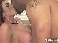 Big-tittied lady with trimmed vagina for a long ago needed great black dick to forget about her lust 10