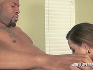 Big-tittied lady with trimmed vagina for a long ago needed great black dick to forget about her lust 3